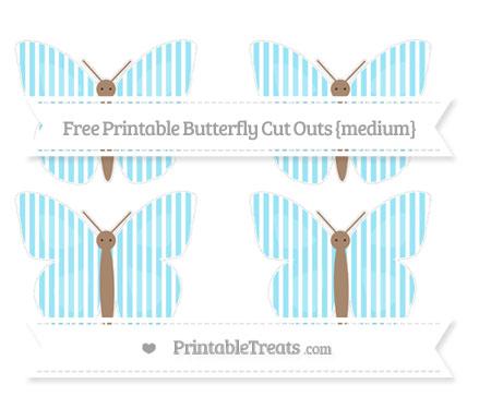 Free Pastel Aqua Blue Thin Striped Pattern Medium Butterfly Cut Outs