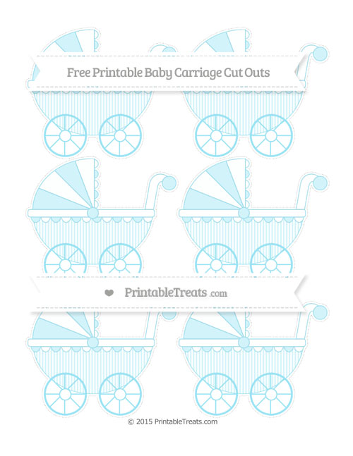Free Pastel Aqua Blue Thin Striped Pattern Small Baby Carriage Cut Outs