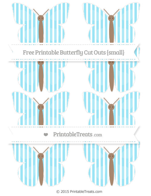 Free Pastel Aqua Blue Thin Striped Pattern Small Butterfly Cut Outs