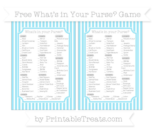 Free Pastel Aqua Blue Thin Striped Pattern What's in Your Purse Baby Shower Game