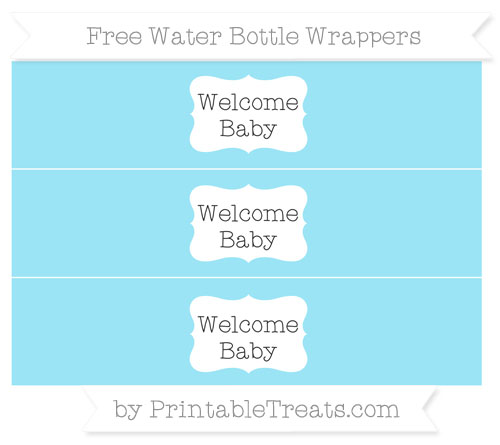 Free Pastel Aqua Blue Welcome Baby Water Bottle Wrappers