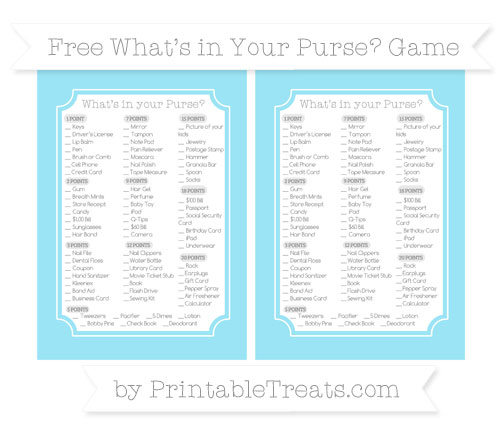 Free Pastel Aqua Blue What's in Your Purse Baby Shower Game