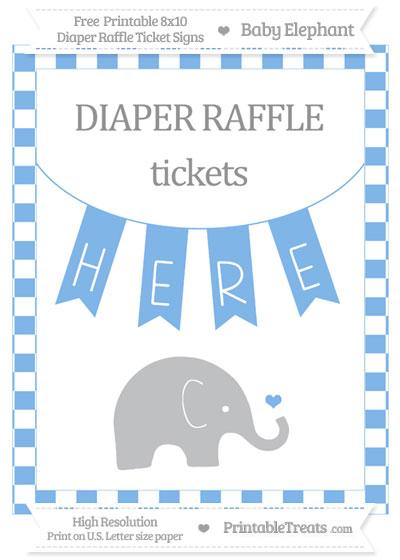 Free Pastel Blue Checker Pattern Baby Elephant 8x10 Diaper Raffle Ticket Sign
