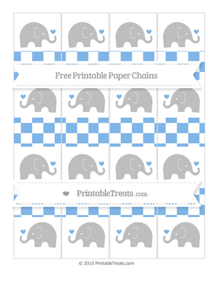 Free Pastel Blue Checker Pattern Baby Elephant Paper Chains
