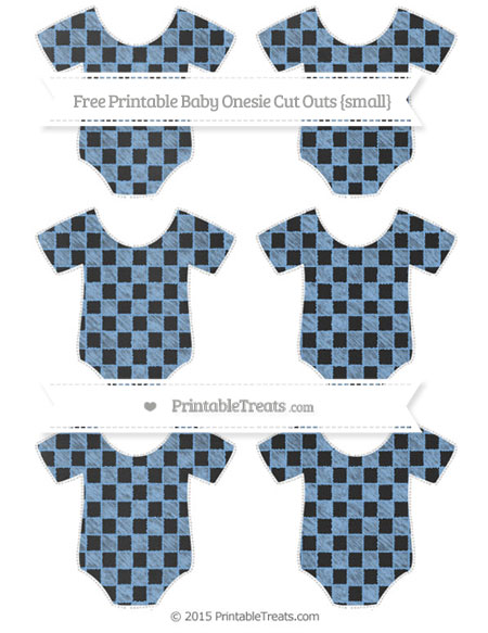 Free Pastel Blue Checker Pattern Chalk Style Small Baby Onesie Cut Outs