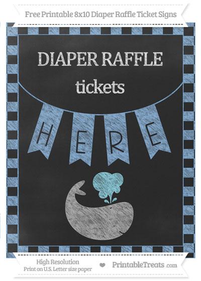 Free Pastel Blue Checker Pattern Chalk Style Whale 8x10 Diaper Raffle Ticket Sign