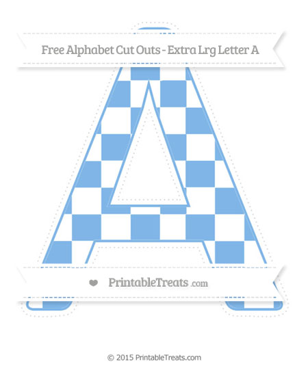 Free Pastel Blue Checker Pattern Extra Large Capital Letter A Cut Outs