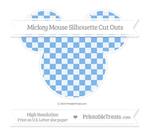 Free Pastel Blue Checker Pattern Extra Large Mickey Mouse Silhouette Cut Outs