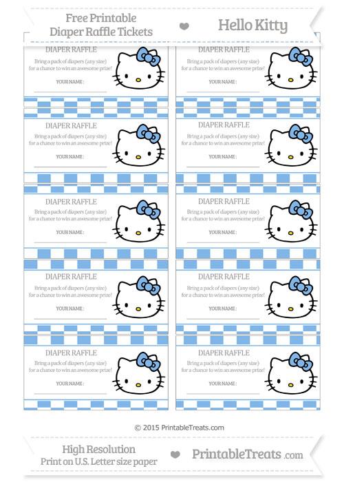 Free Pastel Blue Checker Pattern Hello Kitty Diaper Raffle Tickets