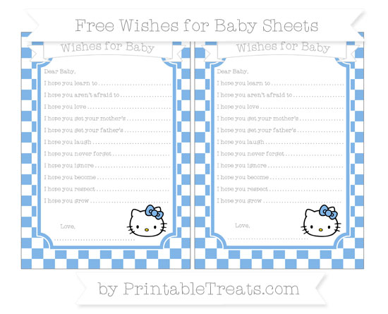 Free Pastel Blue Checker Pattern Hello Kitty Wishes for Baby Sheets