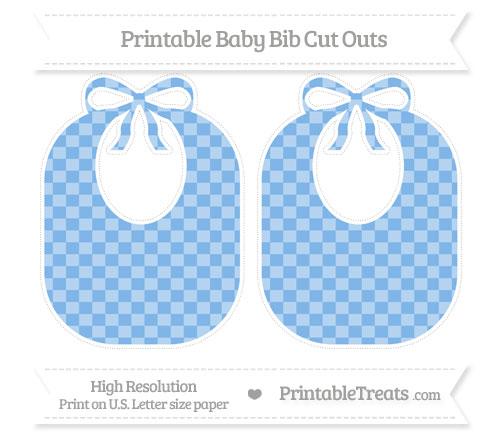 Free Pastel Blue Checker Pattern Large Baby Bib Cut Outs