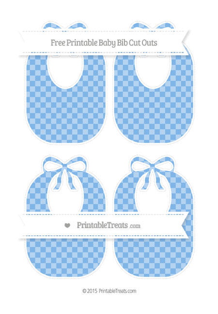 Free Pastel Blue Checker Pattern Medium Baby Bib Cut Outs