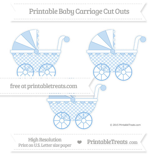 Free Pastel Blue Checker Pattern Medium Baby Carriage Cut Outs