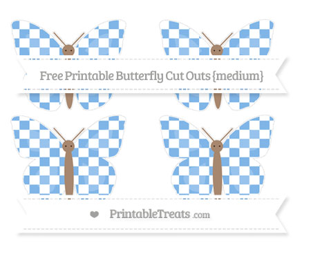Free Pastel Blue Checker Pattern Medium Butterfly Cut Outs