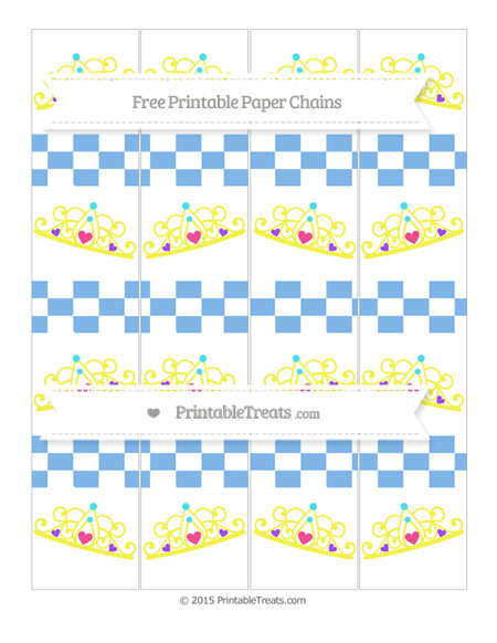 Free Pastel Blue Checker Pattern Princess Tiara Paper Chains