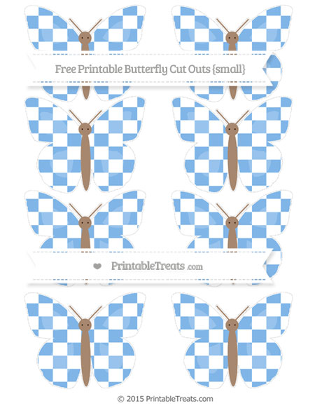 Free Pastel Blue Checker Pattern Small Butterfly Cut Outs