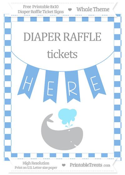 Free Pastel Blue Checker Pattern Whale 8x10 Diaper Raffle Ticket Sign
