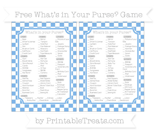 Free Pastel Blue Checker Pattern What's in Your Purse Baby Shower Game