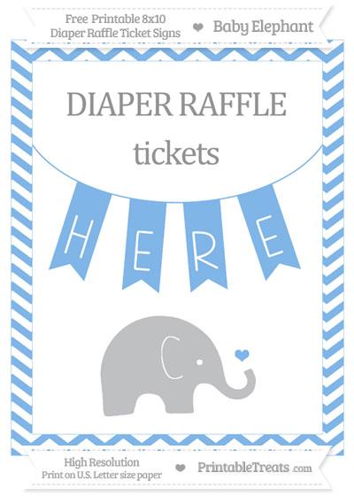 Free Pastel Blue Chevron Baby Elephant 8x10 Diaper Raffle Ticket Sign