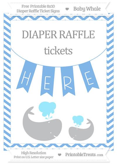 Free Pastel Blue Chevron Baby Whale 8x10 Diaper Raffle Ticket Sign