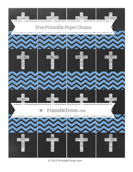 Free Pastel Blue Chevron Chalk Style Cross Paper Chains
