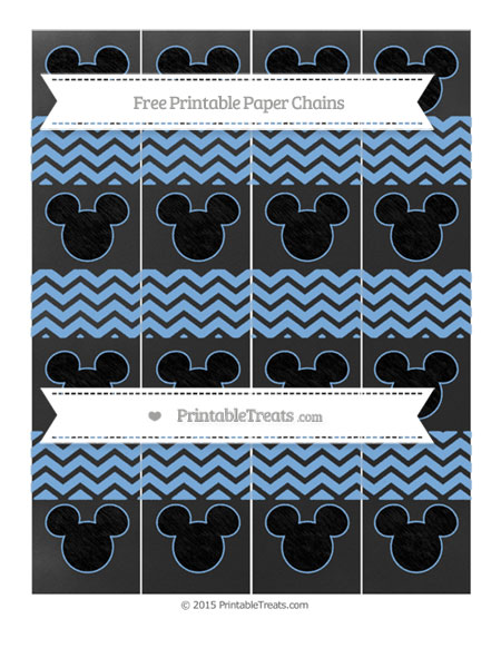 Free Pastel Blue Chevron Chalk Style Mickey Mouse Paper Chains