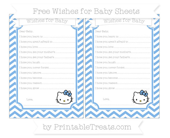 Free Pastel Blue Chevron Hello Kitty Wishes for Baby Sheets