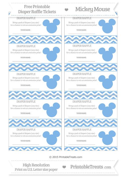 Free Pastel Blue Chevron Mickey Mouse Theme Diaper Raffle Tickets