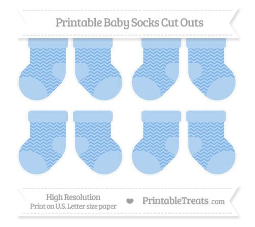 Free Pastel Blue Chevron Small Baby Socks Cut Outs