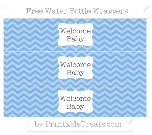 Free Pastel Blue Chevron Welcome Baby Water Bottle Wrappers