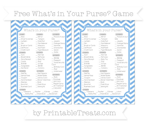 Free Pastel Blue Chevron What's in Your Purse Baby Shower Game