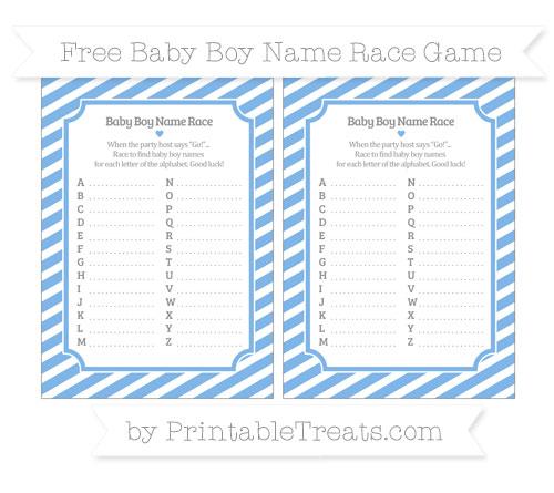 Free Pastel Blue Diagonal Striped Baby Boy Name Race Game