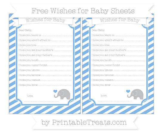 Free Pastel Blue Diagonal Striped Baby Elephant Wishes for Baby Sheets