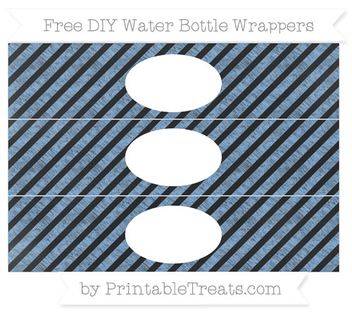 Free Pastel Blue Diagonal Striped Chalk Style DIY Water Bottle Wrappers