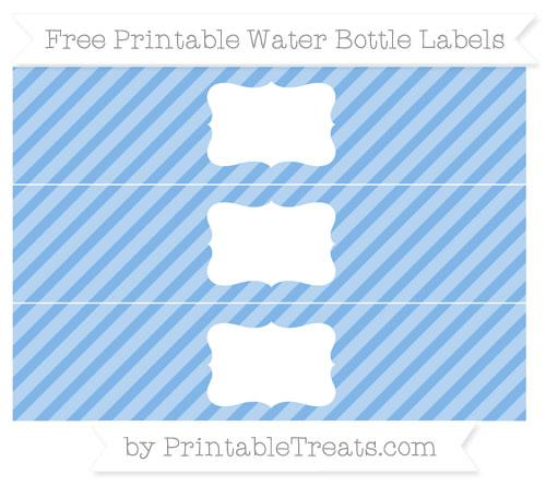 Free Pastel Blue Diagonal Striped Water Bottle Labels