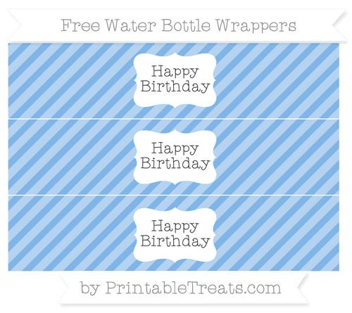 Free Pastel Blue Diagonal Striped Happy Birhtday Water Bottle Wrappers