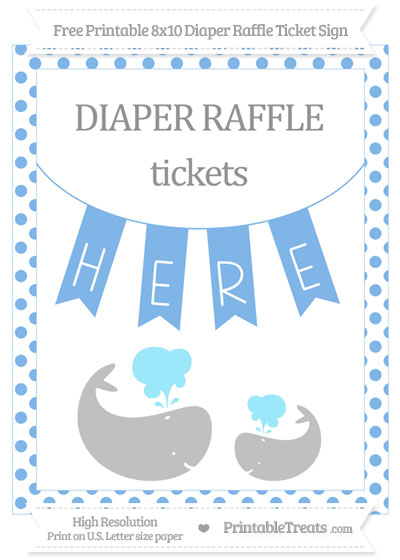 Free Pastel Blue Dotted Baby Whale 8x10 Diaper Raffle Ticket Sign