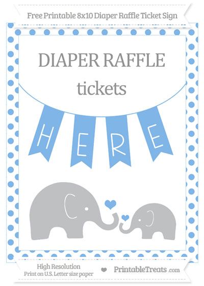 Free Pastel Blue Dotted Elephant 8x10 Diaper Raffle Ticket Sign