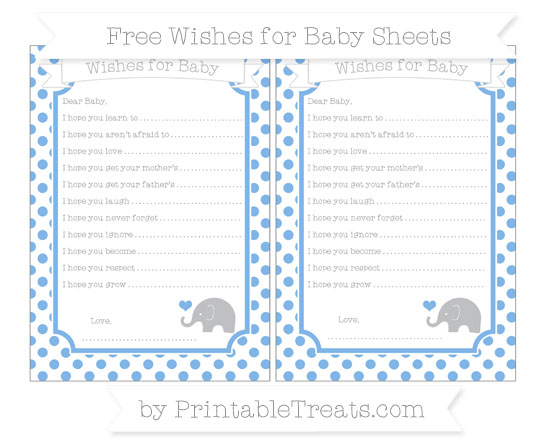 Free Pastel Blue Dotted Pattern Baby Elephant Wishes for Baby Sheets