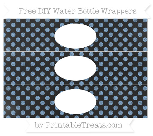 Free Pastel Blue Dotted Pattern Chalk Style DIY Water Bottle Wrappers