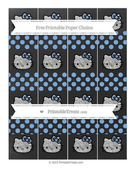 Free Pastel Blue Dotted Pattern Chalk Style Hello Kitty Paper Chains
