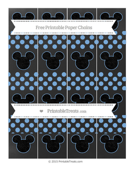 Free Pastel Blue Dotted Pattern Chalk Style Mickey Mouse Paper Chains