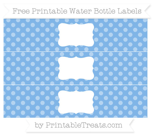 Free Pastel Blue Dotted Pattern Water Bottle Labels