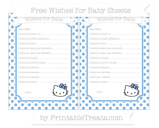 Free Pastel Blue Dotted Pattern Hello Kitty Wishes for Baby Sheets