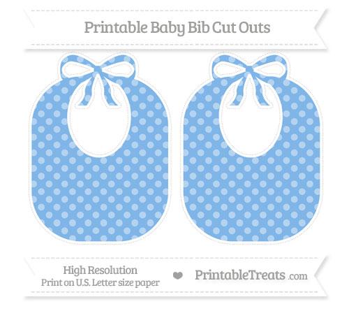 Free Pastel Blue Dotted Pattern Large Baby Bib Cut Outs