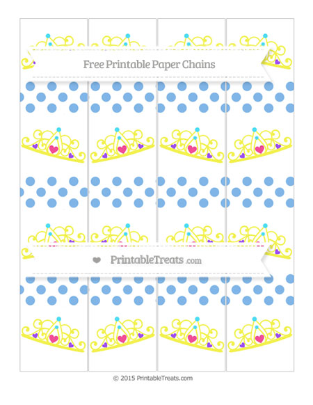 Free Pastel Blue Dotted Pattern Princess Tiara Paper Chains