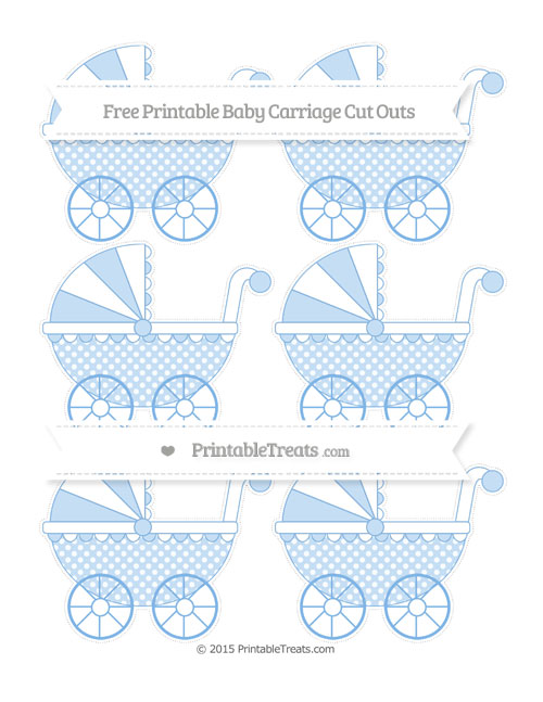 Free Pastel Blue Dotted Pattern Small Baby Carriage Cut Outs