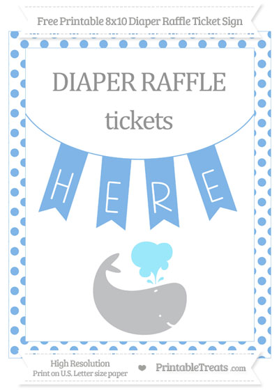 Free Pastel Blue Dotted Whale 8x10 Diaper Raffle Ticket Sign