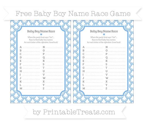 Free Pastel Blue Fish Scale Pattern Baby Boy Name Race Game