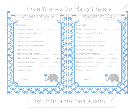 Free Pastel Blue Fish Scale Pattern Baby Elephant Wishes for Baby Sheets